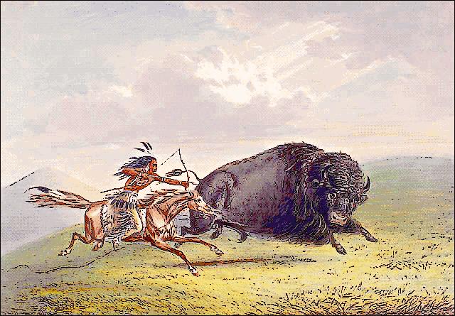 Native hunting buffalo