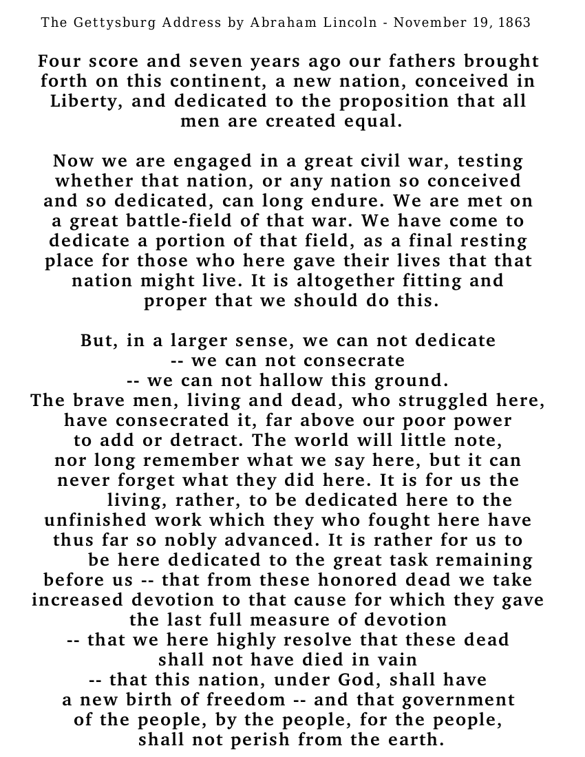 Gettysburg Address Text Bold American History Civil War