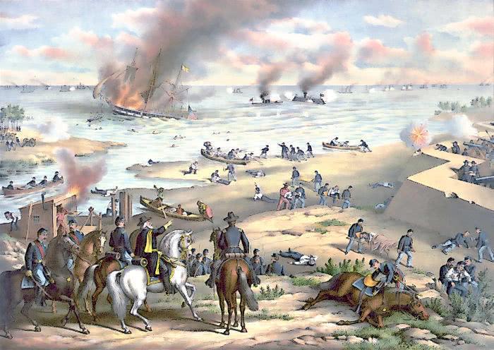 Peinture représentant le combat vu du sol, et l'action de l'artillerie côtière