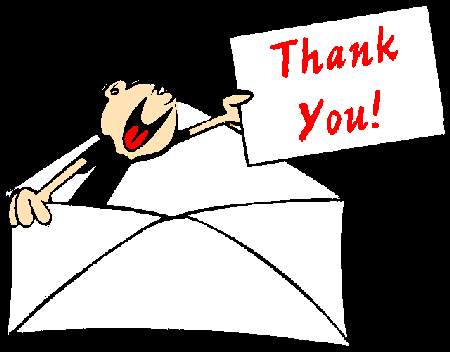 THANK YOU NOTE - public domain clip art image