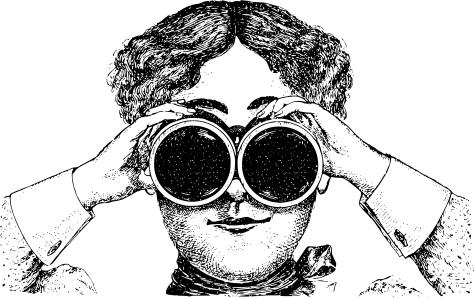 woman binoculars staring - /cartoon/people/comic ...