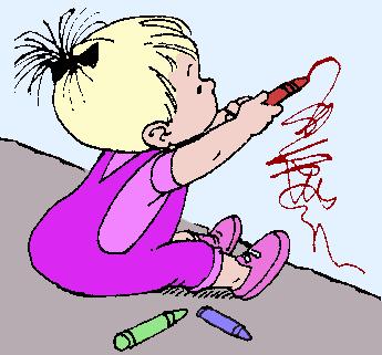 kid drawing on wall - /cartoon/people/kids/baby/kid ...