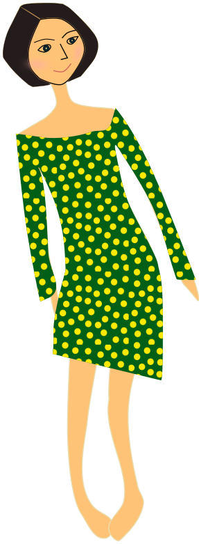 girl in dress polka dots