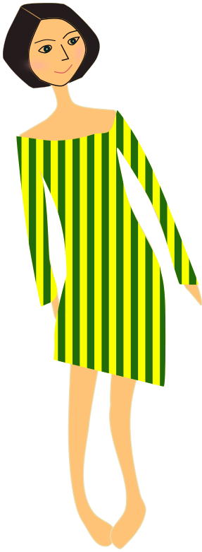 girl in dress stripes green yellow