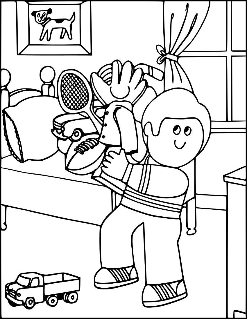 Boy Cleaning Room Education Coloring Pages Coloring 2