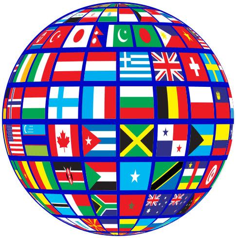 World Flags Globe Blue Flags Flag Globe World Flags