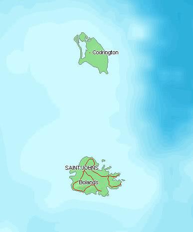Physical Map of Antigua and Barbuda - Ezilon Maps |Terrain Map Antigua And Barbuda