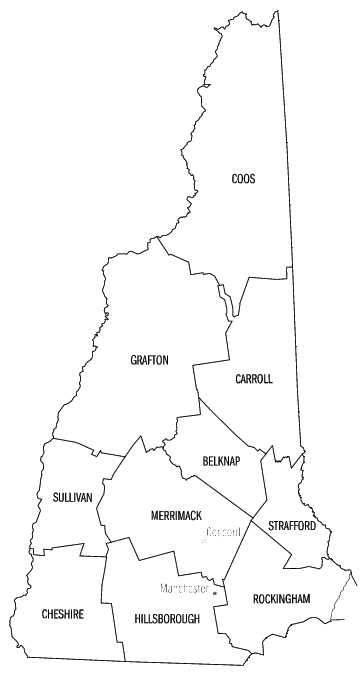 New Hampshire Counties Geography Us Counties Simple