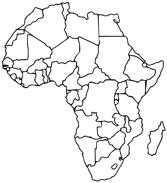 african countries blank  geography  continents  africa