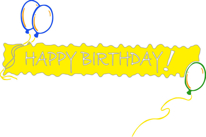 Happy birthday banner yellow holiday birthday happy birthday words banner with balloons happy