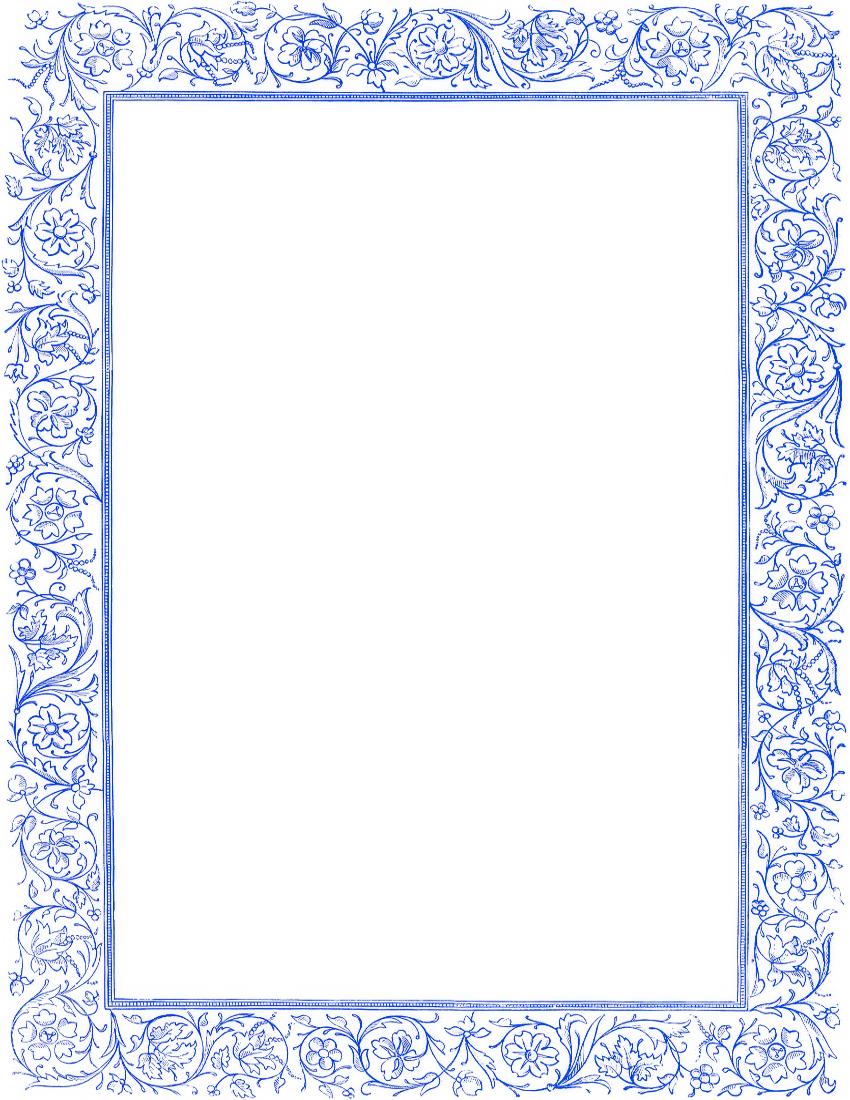 Victorian Floral Border Blue Page Frames Old Ornate