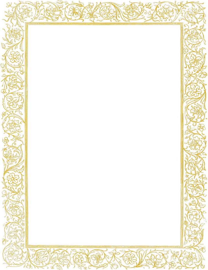 Victorian Floral Border Gold Page Frames Old Ornate