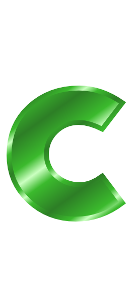 green metal letter c - /signs_symbol/alphabets_numbers ...