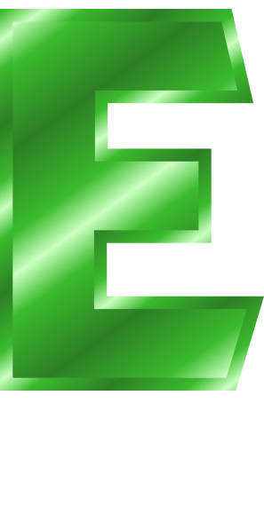 green metal letter capitol e  signs symbol  alphabets numbers  green metal  green metal letter