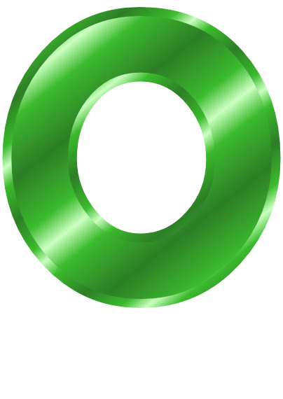 green metal letter capitol O - /signs_symbol/alphabets ...