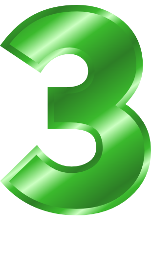 green metal number 3  signs symbol  alphabets numbers