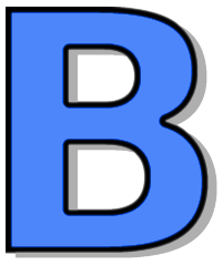 Capitol B Blue Signs Symbol Alphabets Numbers Outlined