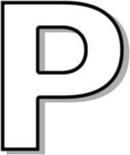 Capitol P White Signs Symbol Alphabets Numbers Outlined