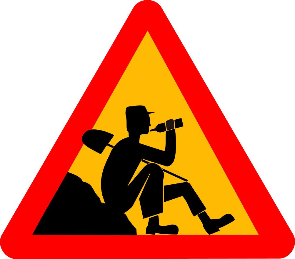 Men Working On Break Signs Symbol Funny Signs Men