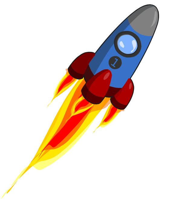 Rocket W Flames Space Ships Spaceship Cartoons Rockets