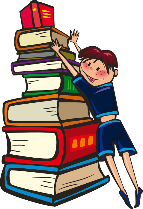 boy with huge books