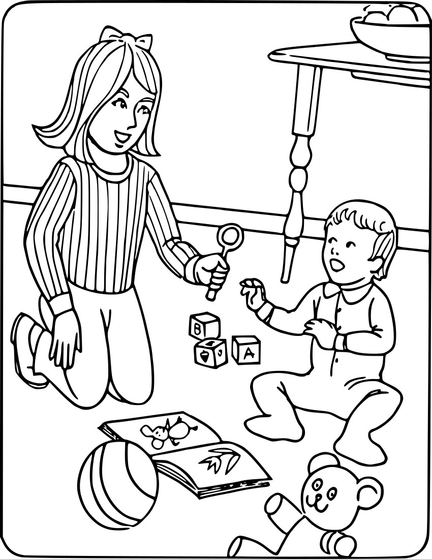 Educational Coloring Pages Pdf : Babysitter with toddler education coloring pages