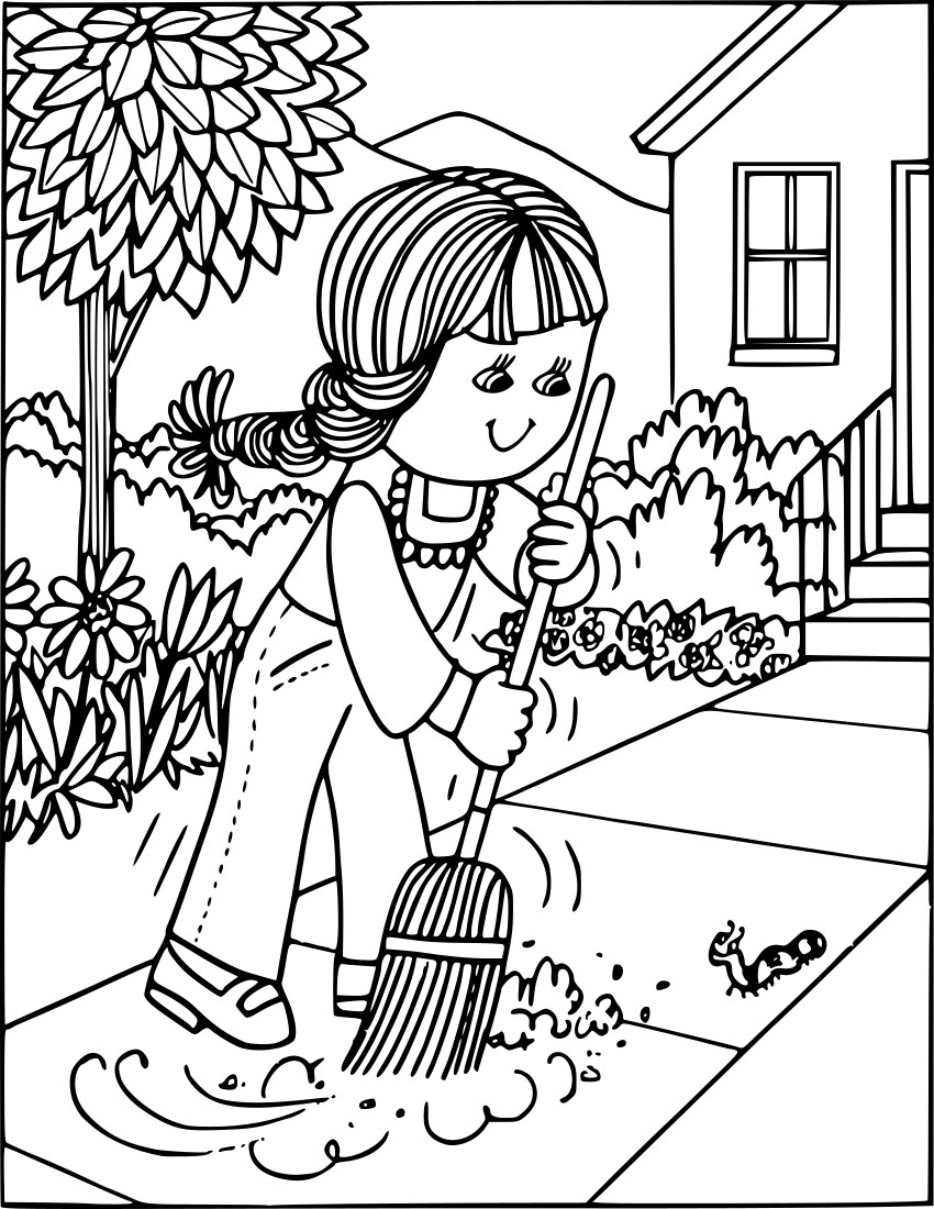 Educational Coloring Pages Pdf : Girl sweeping education coloring pages