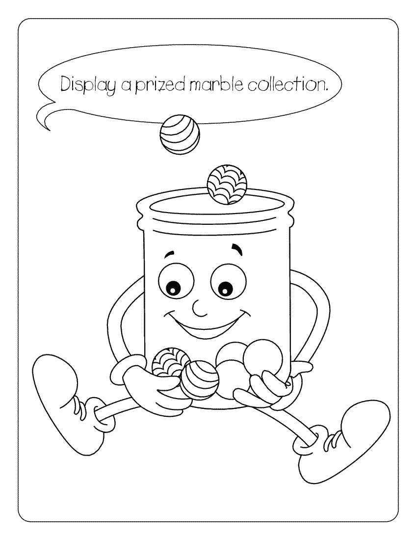 Jellyjar Marbles Education Coloring Pages Conservation Marble Coloring Page