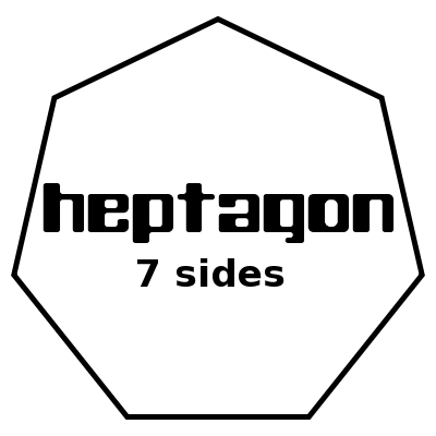 Heptagon heptagon 7 sides with label