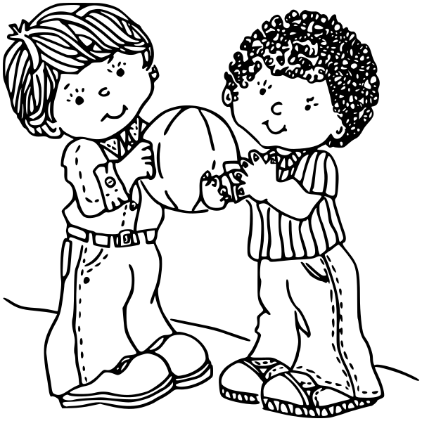 Kids Sharing Clipart Black And White sharing - /educ...
