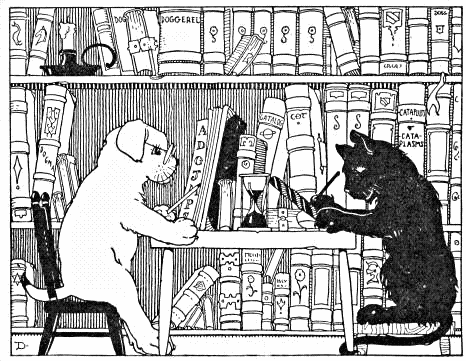 cat and dog in library