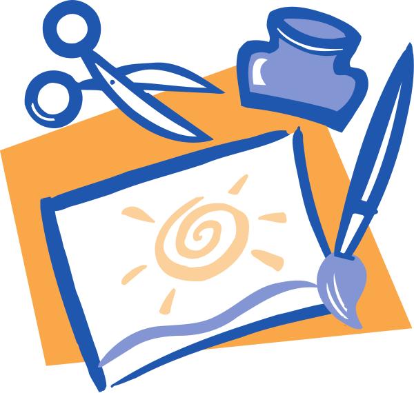 clip art scissor. paintbrush scissors and glue