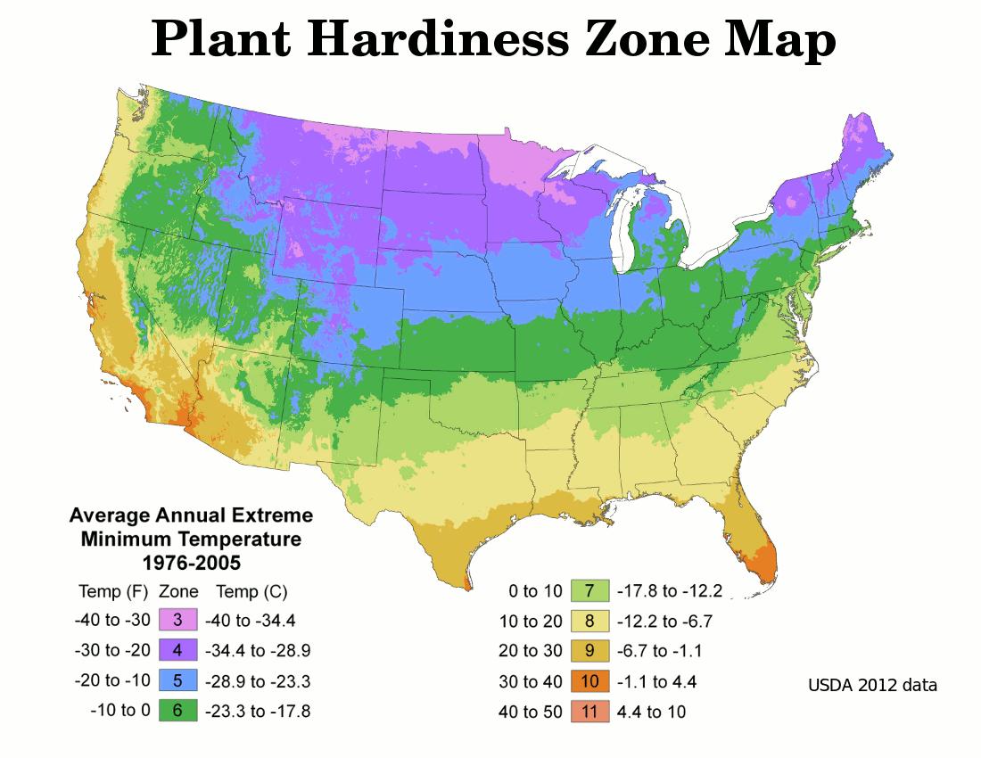 plant hardines zones USDA map