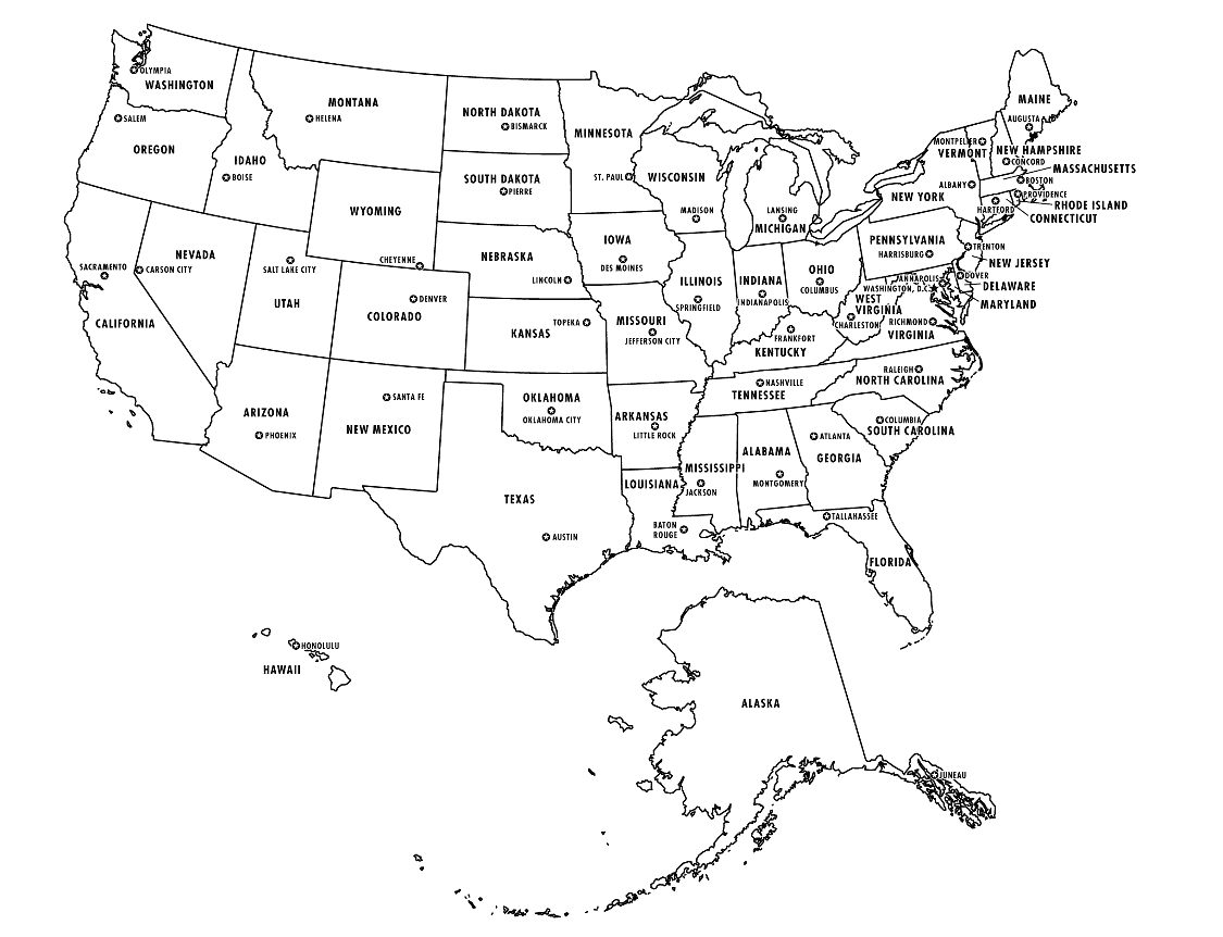 Fillable Map Of The United States - Blank us political map