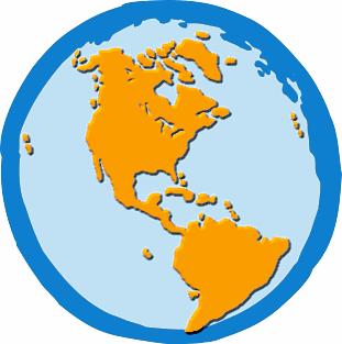 EARTH WESTERN HEMISPHERE - public domain clip art image