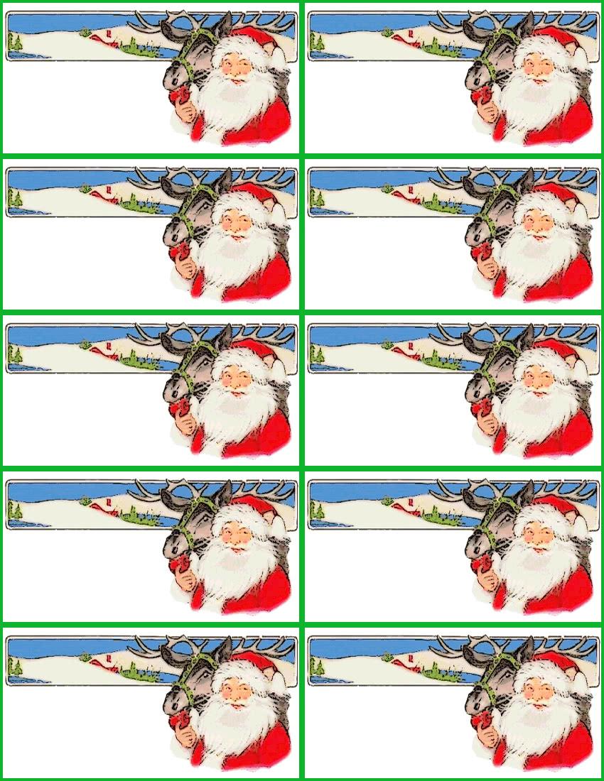 Santa reindeer gift tag page holiday christmas gift tags christmas tag pages santa reindeer for Name tags christmas