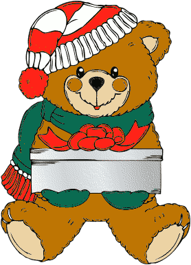 Christmas Bear wih present - /holiday/Christmas/animals ...