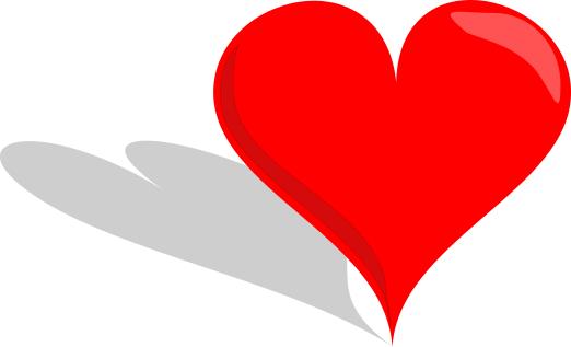 heart standing w shadow