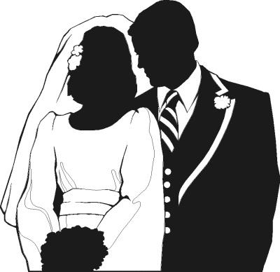 wedding couple partial silhouette public domain clip art image