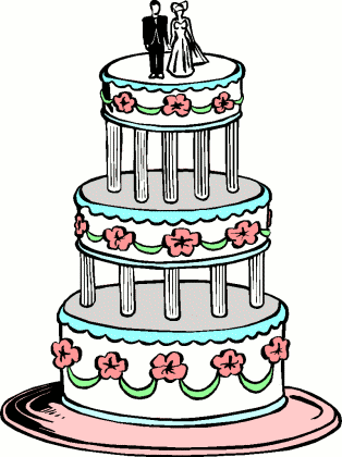 Picture of a three-tier wedding cake.