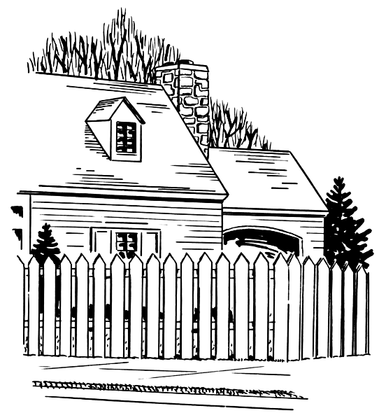 house with fence clip art - photo #13