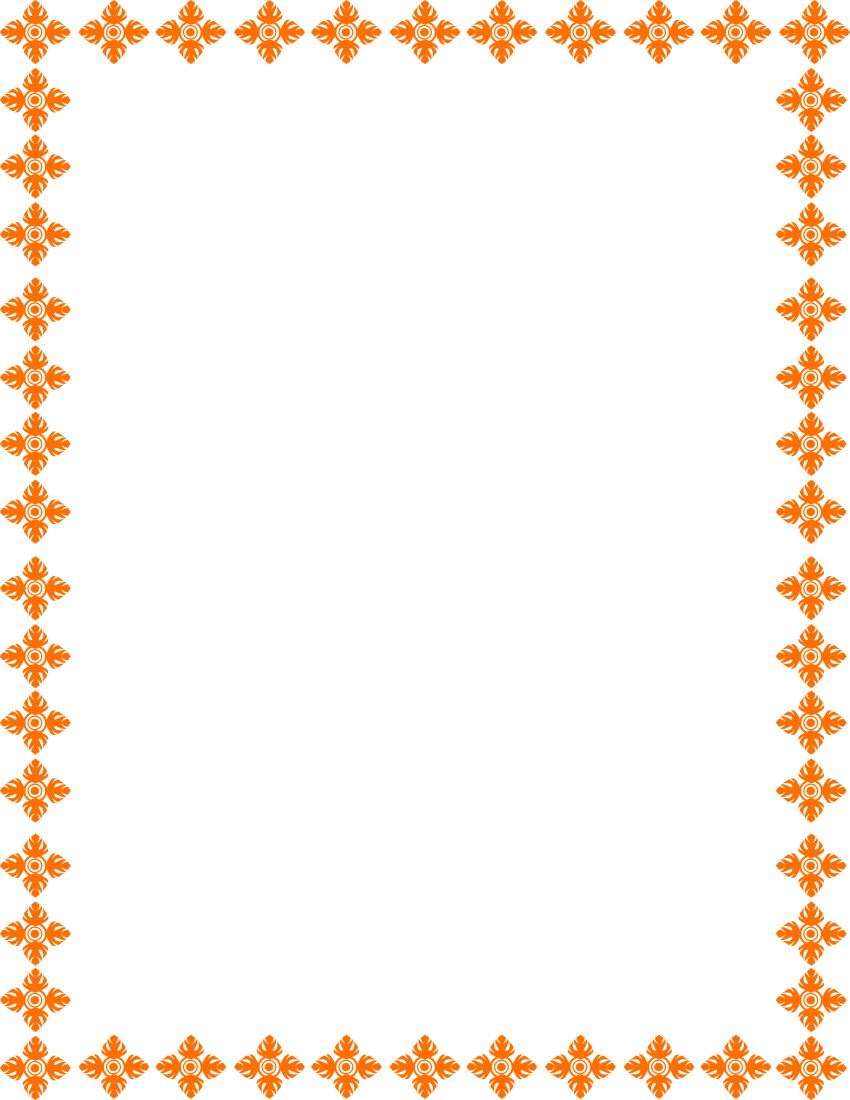 Floral Art Border Orange Page Frames Floral Floral Art