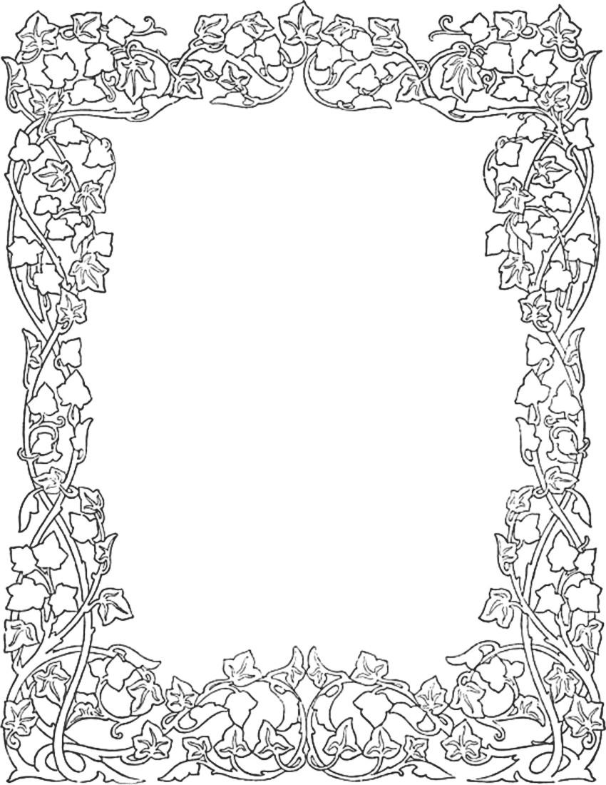 coloring border pages for kids | ivy border - /page_frames/floral/ivy_border.png.html
