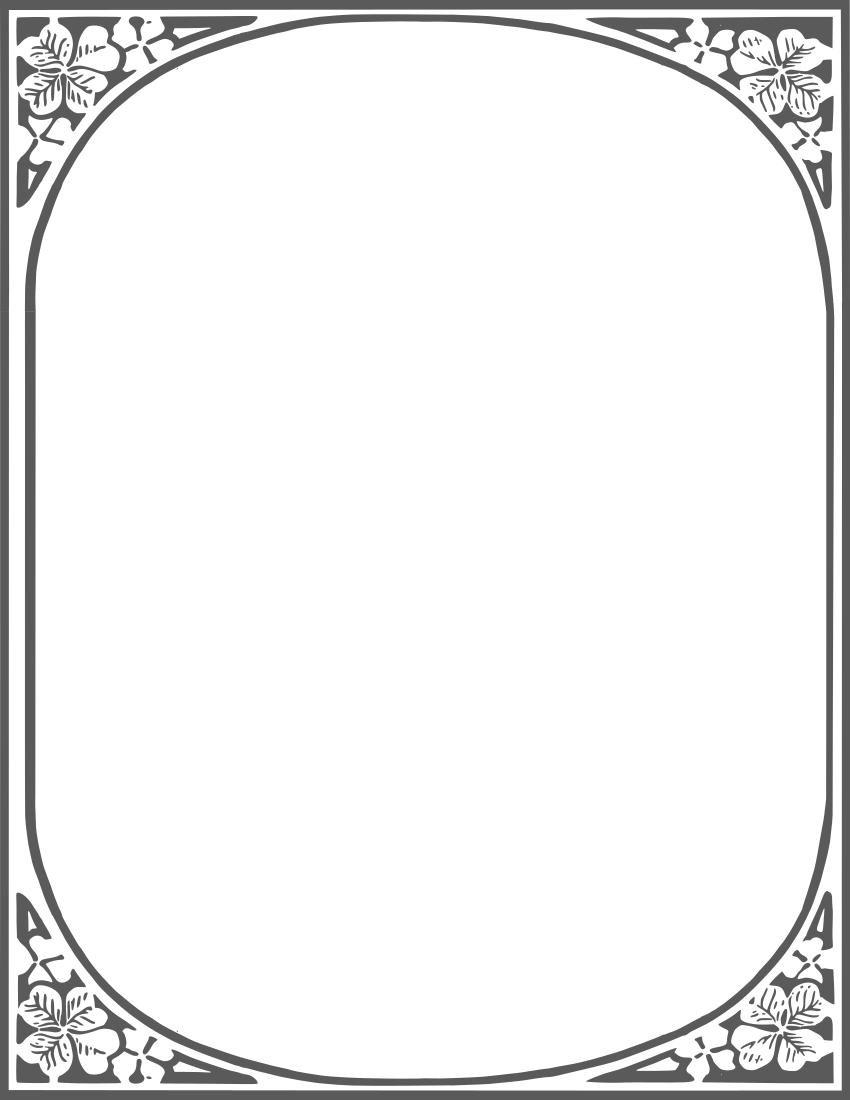 clover frame BW - /page_frames/floral/leaves/clover_frame_BW.png.html