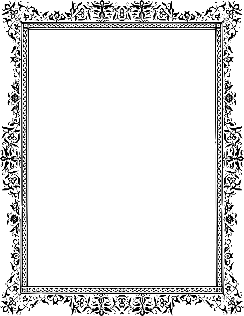 Floral Frame Classic floral frame - /page_frames/floral/leaves/gray ...