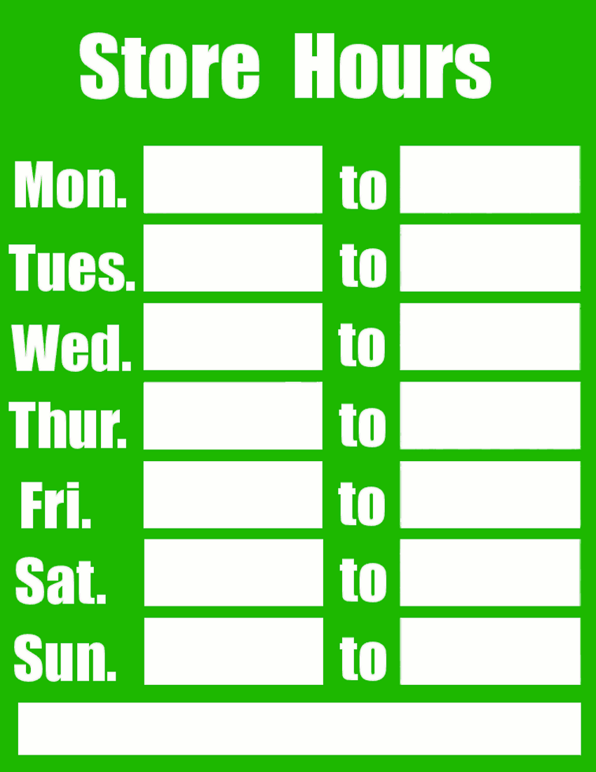 Business Hours Sign Template image information