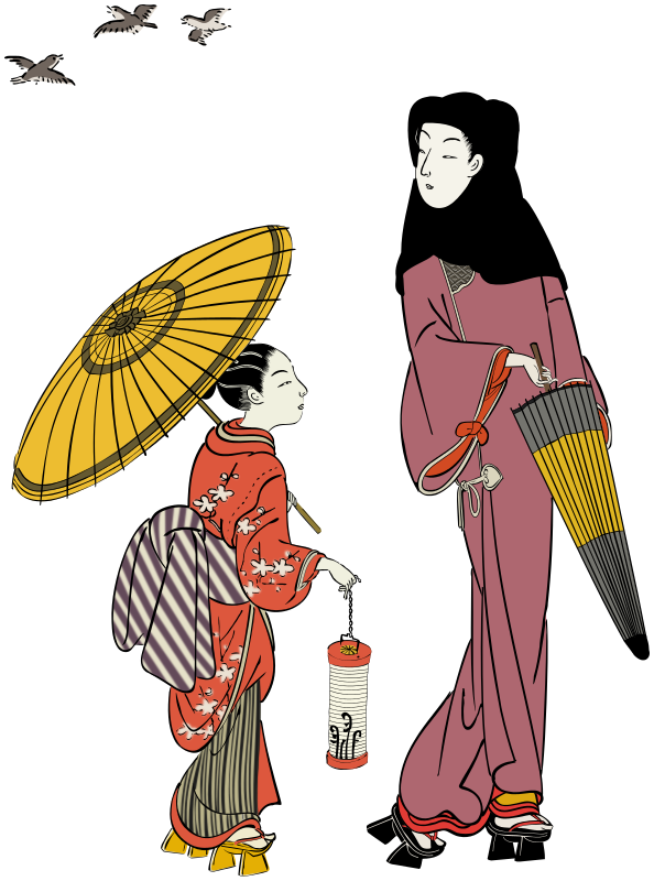 Oriental woman and girl