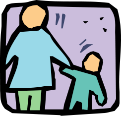 parent and child holding hands icon