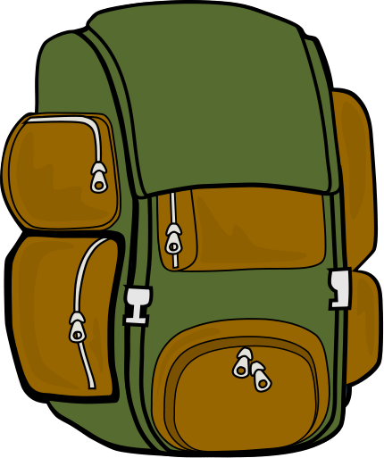 backpack green brown   recreation  camping hiking  backpack Tent Camping Clip Art camping clipart pictures