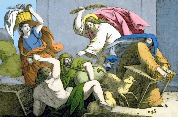 Jesus Christ driving the money changers from the temple